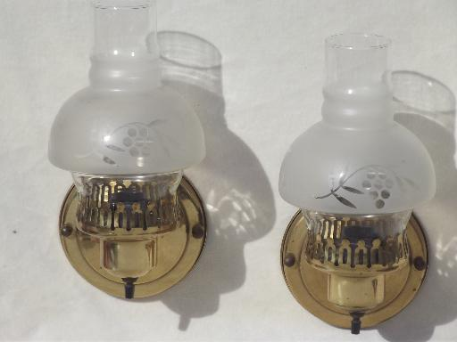 vintage solid brass wall sconces, pair of parlor lamps w/ glass chimney shades