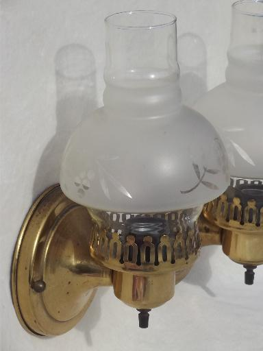 Wall Sconce Glass Chimney : vintage solid brass wall sconces, pair of parlor lamps w ...