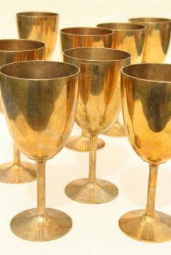 >vintage solid brass wine glasses, golden yellow gold brass goblets set of 8