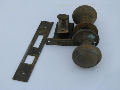 vintage solid cast brass / bronze yale architectural door knob and ...