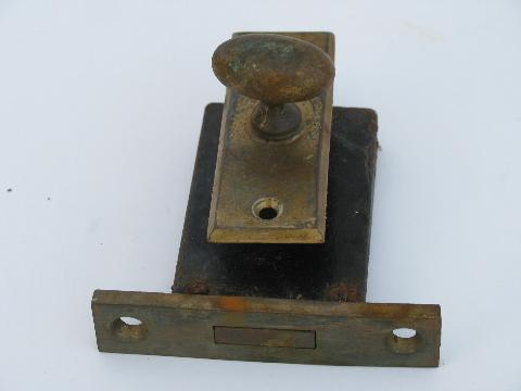 vintage solid cast brass / bronze yale architectural door knob and deadbolt lock etc.