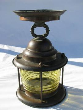 vintage solid copper lantern porch light with amber glass fresnel lens globe