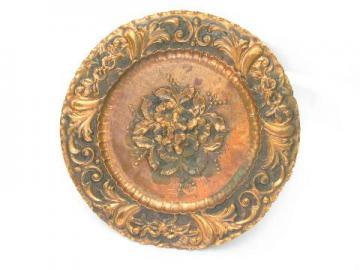 vintage solid copper plate or charger, embossed roses floral repousse