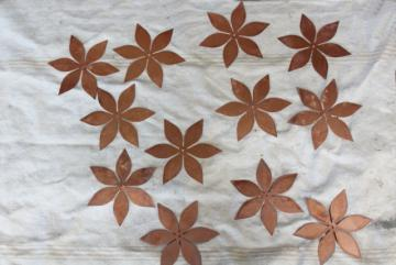 vintage solid copper sheet cut out flowers, flat starburst art shapes w/ center hole