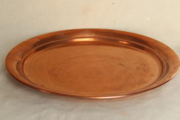 vintage solid copper tray, round serving plate or waiter's tray