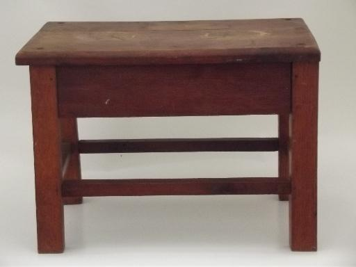 vintage solid oak stool, old bench seat for desk or child's size table