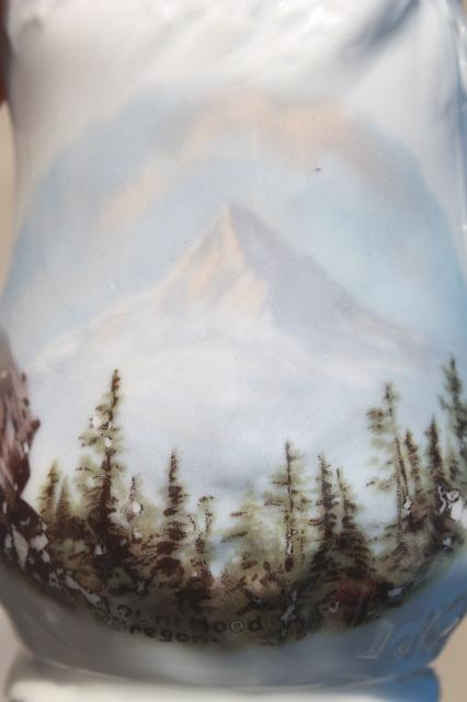 vintage souvenir of Mt Hood Oregon, antique Germany china pitcher w/ landscape picture