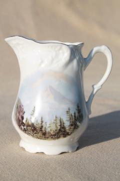 vintage souvenir of Mt Hood Oregon, antique Germany china pitcher w/ landscape picture