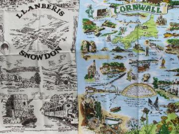 vintage souvenir print kitchen towels, landmarks of Cornwall and Wales