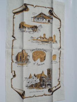 vintage souvenir printed linen tea towel, Monroe Wisconsin Swiss Cheese