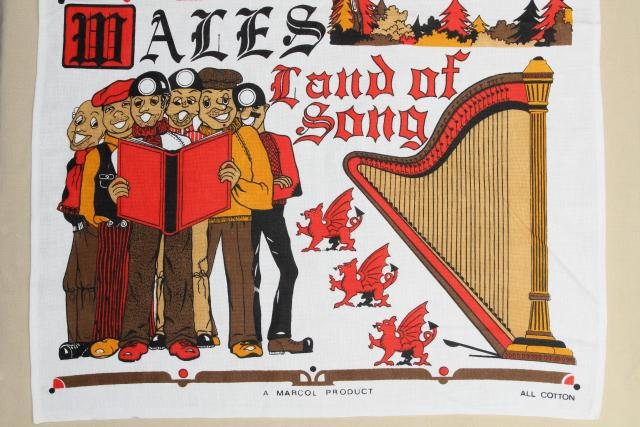 vintage souvenir tea towel, Wales, Land of Song - cute fun retro print