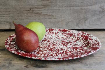 vintage spatterware enamel ware metal tray or platter, barn red & white