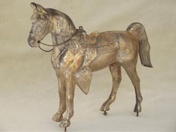 vintage  spelter horse statue, antique cast metal figure for mantle clock