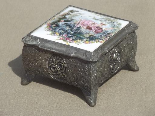 Vintage antique metal jewelry boxes