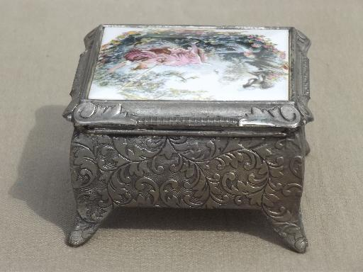 spelter metal jewelry box music box w Boucher style french print