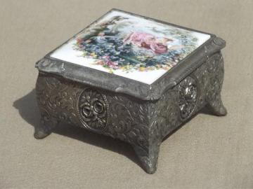 vintage spelter metal jewelry box / music box w/ Boucher style french print