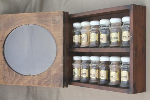 vintage spice set w/ glass jars for spices & wall mount rack spice cabinet w/ shelves