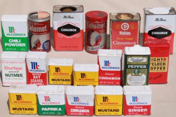 vintage spice tins collection, old advertising tin metal boxes for spices