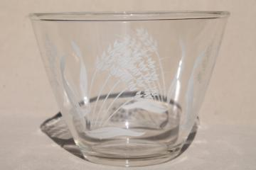 vintage splash proof mixing bowl, clear kitchen glass w/ white wheat print