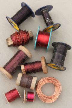 vintage spools & bobbins of copper wire for jewelry & crafts, lot of assorted copper wire
