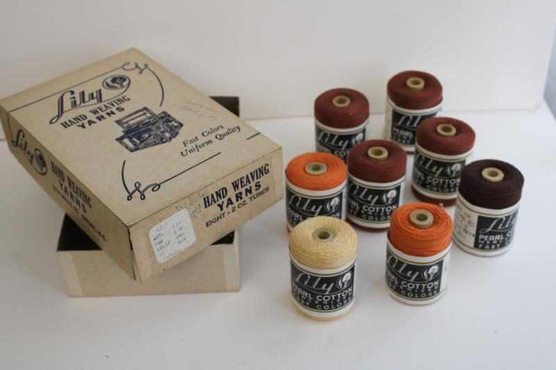 vintage spools of Lily pearl cotton crochet thread, embroidery floss or weaving cord