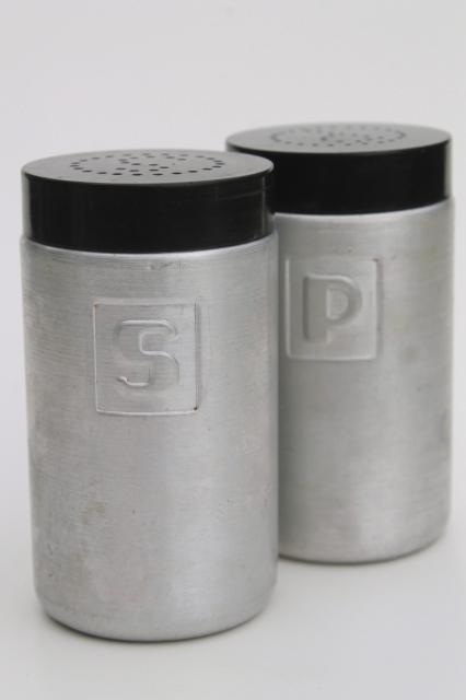 Vintage Spun Aluminum S P Shakers Range Set Salt Pepper Kromex Or Made In Italy