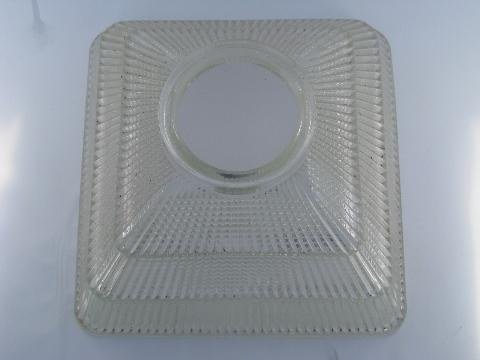 vintage square Holophane prismatic glass pendant shade