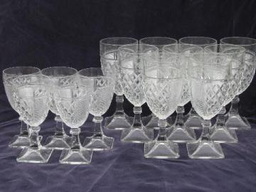 vintage square foot waffle pressed pattern glass water & wine glasses, 14 goblets