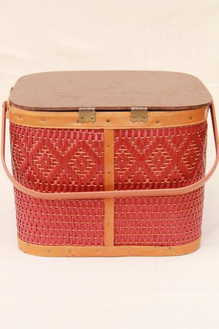Vintage Square Shape Red Wicker Picnic Basket W Insert