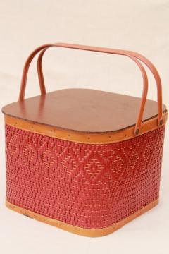 vintage square shape red wicker picnic basket w/ insert shelf, Red-Man label