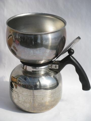 Vacuum Coffee Maker Metal : vintage stainless steel coffee pot, Mirro/Cory percolator w/extra filter disks