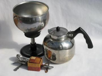 vintage stainless steel coffee pot, Mirro/Cory percolator w/extra filter disks