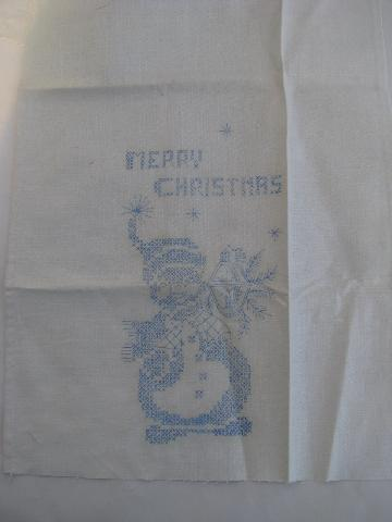 vintage stamped linen guest towels to embroider, Christmas snowmen