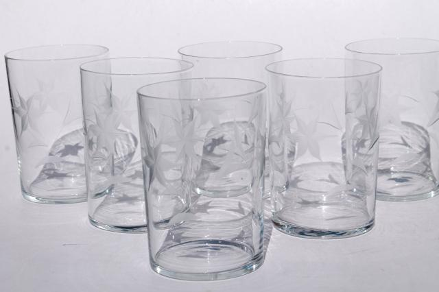 Vintage Star Flower Wheel Cut Etched Glass Tumblers Old