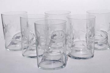 vintage star flower wheel cut etched glass tumblers, old fashioned drinking glasses set of 6