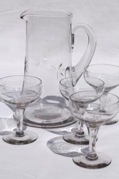 vintage star pattern glass cocktail set, pitcher & glasses w/ etched cut glass stars