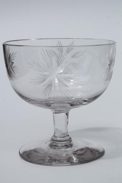 Vintage Star Pattern Glass Cocktail Set Pitcher Amp Glasses W Etched