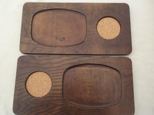 vintage steak plate holders wood tavern trays w/ pewter aluminum tankard cups & vintage steak plate holders wood tavern trays w/ pewter aluminum ...
