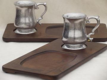vintage steak plate holders, wood tavern trays w/ pewter aluminum tankard cups