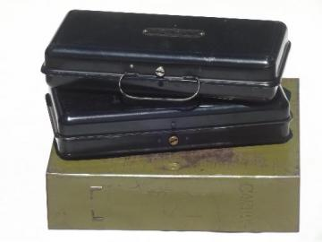 vintage steel document & deed boxes, lot of three old bank boxes