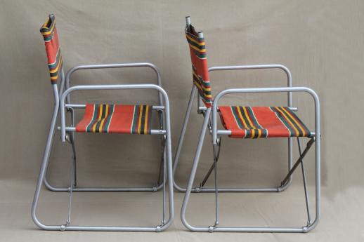 Vintage Steel Folding Chairs Striped Awning Canvas Seats