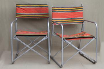 vintage steel folding chairs striped awning canvas seats & backs Airstream trailer glamping