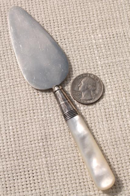 vintage sterling silver cheese server & prawn fork w/ mother of pearl shell handles