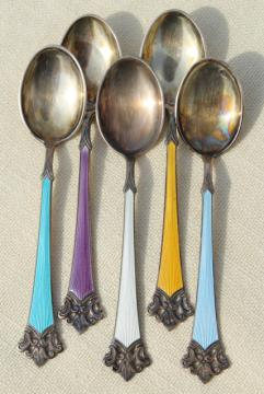 vintage sterling silver demitasse spoons w/ guilloche enamel, marked Norway