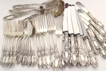 vintage sterling silver flatware, Towle King Richard 1932 service for 8 w/ serving pieces