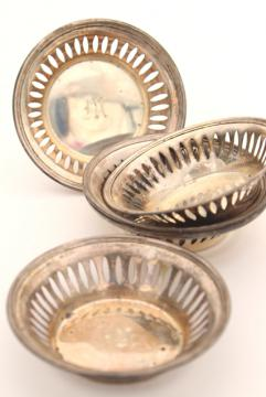 vintage sterling silver mint or nut dishes, set of 6 individual place setting party cups