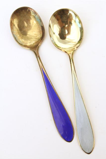 Colorful Spoons: Vintage Sterling Silver Tea Spoons, Guilloche Colored