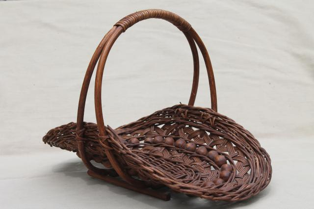 Vintage Stick Amp Ball Wicker Basket W Wood Beads Cottage Garden Flower Basket Trug