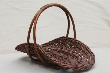 vintage stick & ball wicker basket w/ wood beads, cottage garden flower basket trug