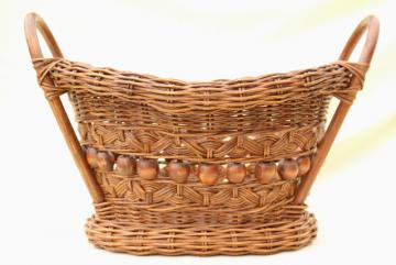vintage stick & ball wicker basket w/ wood beads, old sewing / mending basket